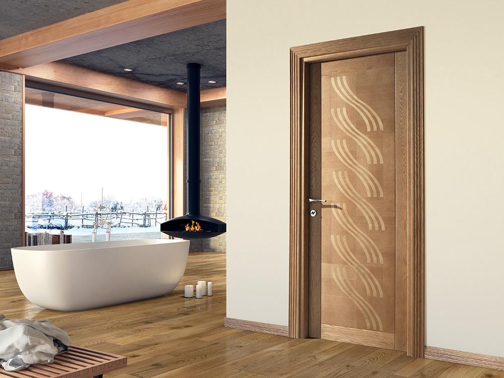 Porta moderna in legno massello